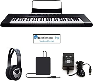 $179 Get Artesia A-61 61 Key Semi-Weighted Action Keyboard Piano Bundle for Beginners and Students - 2 Months Piano Lessons - Stereo Headphone - Dust Cover - Sustain Pedal - Power Supply