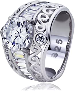 Sterling Silver 1.5ct Round CZ Baguette Accent Domed Wedding Engagement Ring (Size 5 to 9)