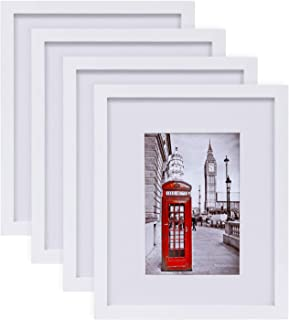 """eletecpro Picture Frames 8x10 Tempered Glass with Mat Set of 4, Display Pictures 8x10"""" Without Mat or 4x6 & 5x7 with Mat f..."""