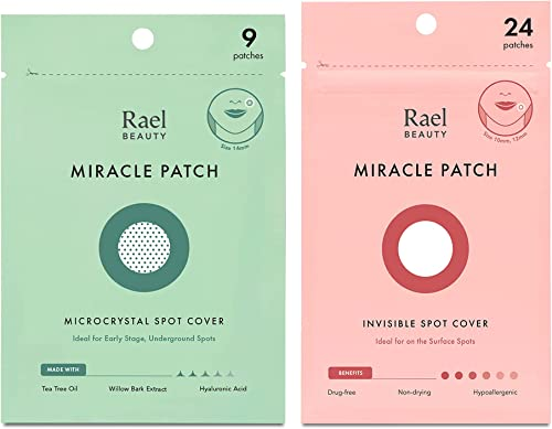 Rael Acne Healing Patch Duo - Absorbing Cover, Invisible, Blemish Spot, Hydrocolloid, Facial Stickers - Microcrystal ...