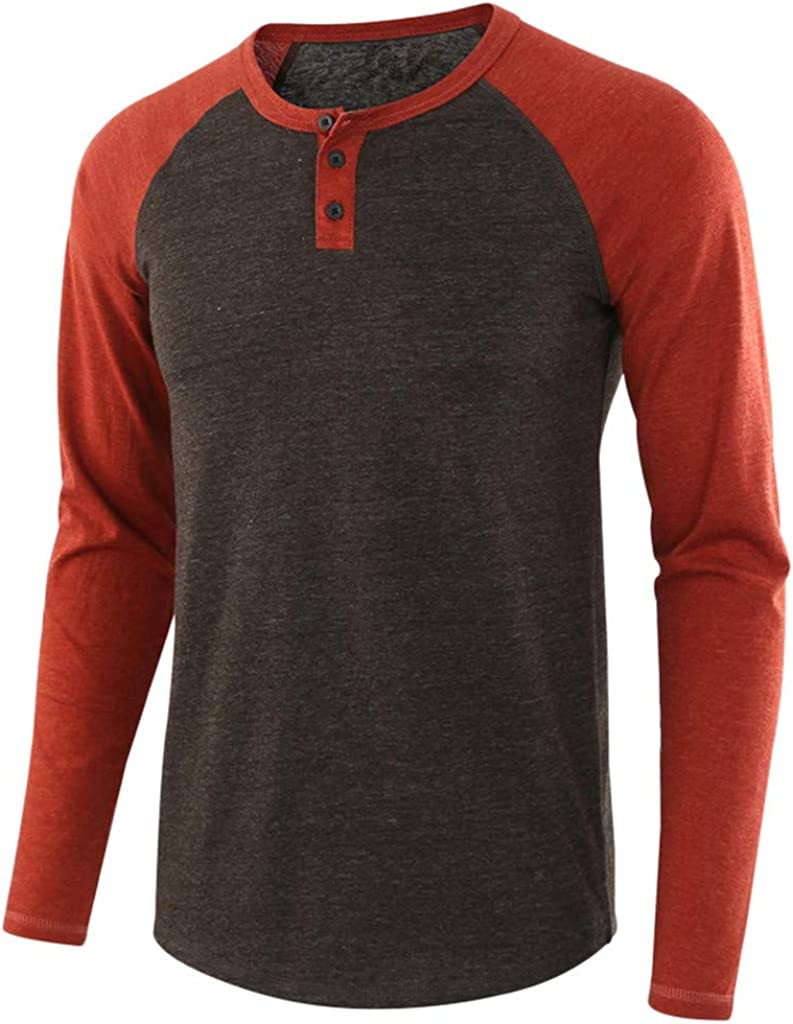 WUAI-Men Plain Raglan Baseball Tee T-Shirt Casual Long Sleeve Slim Fit Athletic Performance Jersey Henley Shirt