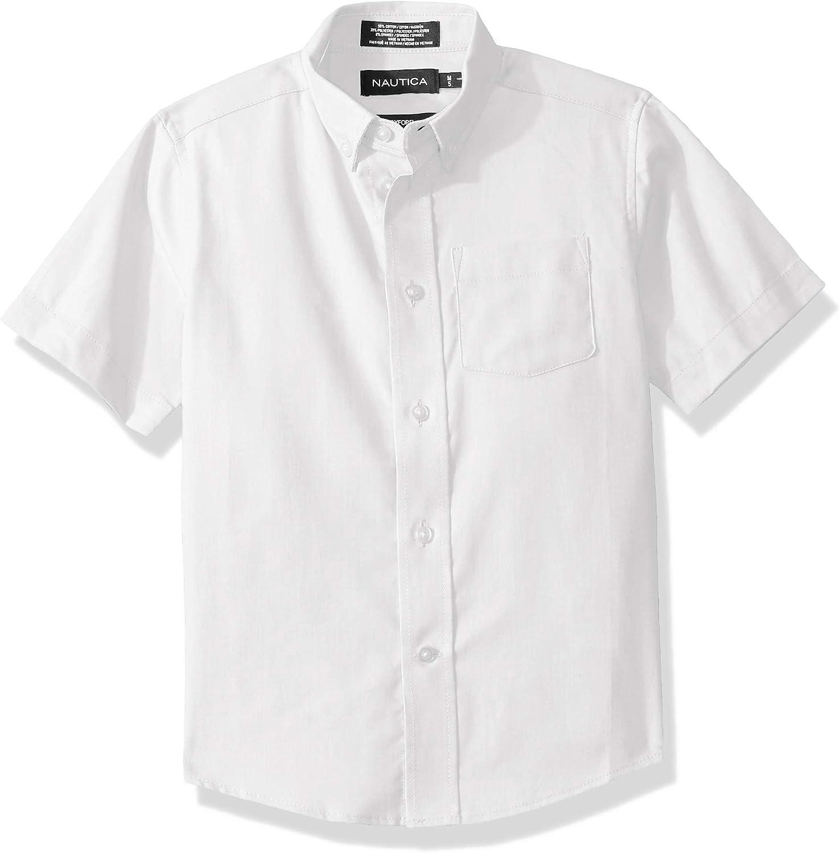 Nautica Boys' School Uniform Short Sleeve Button-Down Oxford Shirt
