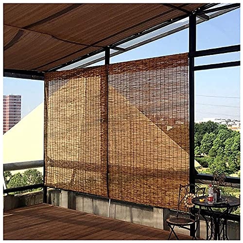 Carbonization Bamboo Blinds for Patio, Reed Roller Curtains for Outdoor, Roll Up Blinds for Windows, Privacy, Sun Shades, Ventilation, Anti-UV, /Porches, Indoor/Outdoor