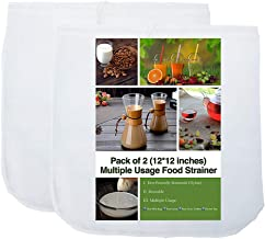 2 Pack - 80 Micron Nut Milk Bag - 12X12 Inches - Multiple Usage Reusable Food Strainer, Cold Brew Coffee Bag Cheesecloth, Food Grade Nylon Mesh, Filter For Almond/Soy Milk, Fruit Juice, Coffee and Tea
