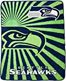 Officially Licensed NFL Seattle Seahawks 'Strobe' Sherpa on Sherpa Throw Blanket, 50' x 60', Multi Color