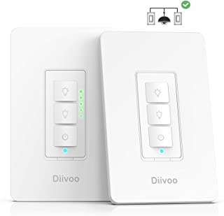 3 Way Smart Dimmer Switch Kits, Diivoo WiFi Dimmable Light Switch,Voice and Remote Control,Work with Google Home,Smart Lif...