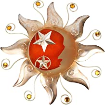 HONGLAND Metal Sun Moon Wall Decor Outdoor Celestial Art Sculpture Indoor Glass Decorations for Home Living Room Bedroom