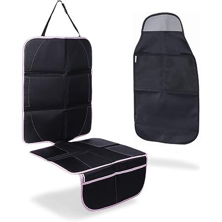 Plaisiureux チャイルドシート 保護マット シートカバー 車 防水 傷 汚れ防止 滑り止め キックガード付き (ピンク)