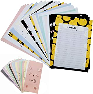 Stationery Paper and Envelopes Set with Cute Cartoon Animal Pattern 24 Sheets of Large Letter Writing Paper 12 Matching Envelopes