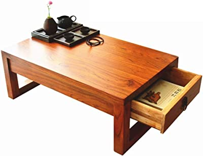 Old Elm Drawer Table Tatami Coffee Table Tea Table Bay Window Table Japanese Window Sill Platform Small Table Kang Table Low Table (Color : Brown, Size : 60 * 40 * 30cm)