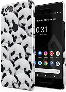 Glitbit Compatible with Google Pixel 2 Case Cute Panda White & Black Funny Pattern Thin Design Durable Hard Shell Plastic Protective Case Cover