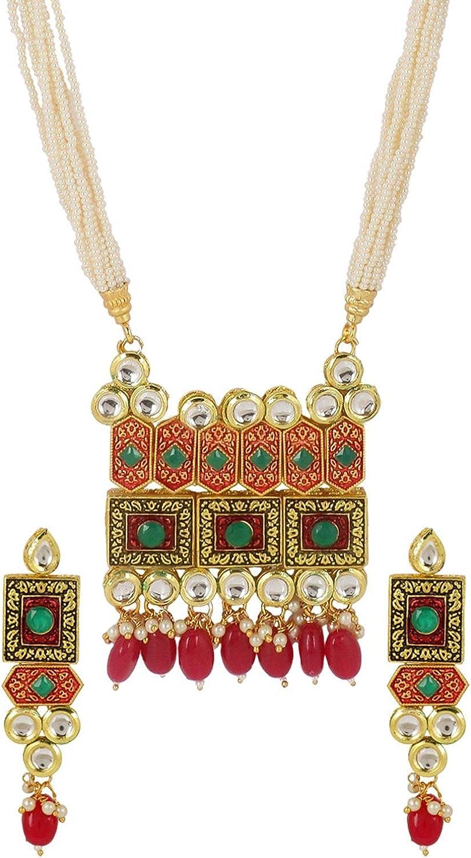 Efulgenz Indian Bollywood 14 K Gold Plated Bridal Pearl Kundan Multistrand Wedding Necklace Earring Jewelry Set
