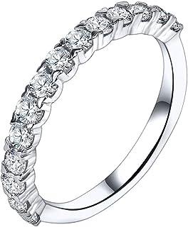 AoedeJ - Anello rotondo in argento Sterling 925 con zirconia cubica e diamanti sintetici, impilabile, da donna