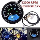 Triclicks Universel 12000rpm Moto Digital Tacho Tachymètre Compteur Kilométrique,...