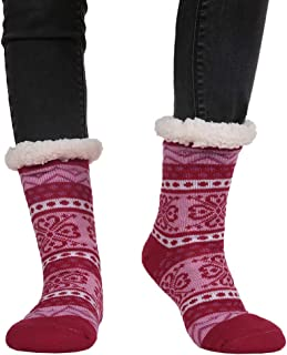 NewwerX Calze in lana di alpaca con suola in ABS antiscivolo Il dolce rilassamento per i piedi 2 paia Calzini caldi e morbidi realizzati con lana pregiata