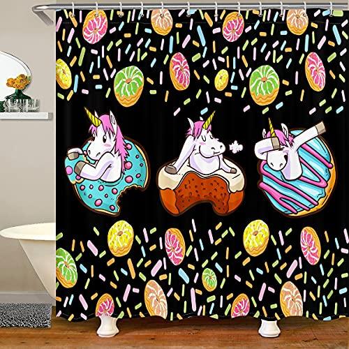 Loussiesd Einhorn Haken Kuchen Dessert Wasserdicht Duschvorhang 180x210cm für Kinder Jungen Mädchen Niedlichen Einhorn Drucken Stoff Duschvorhang Textil Fantasie Tier Zuhause Dekorativ