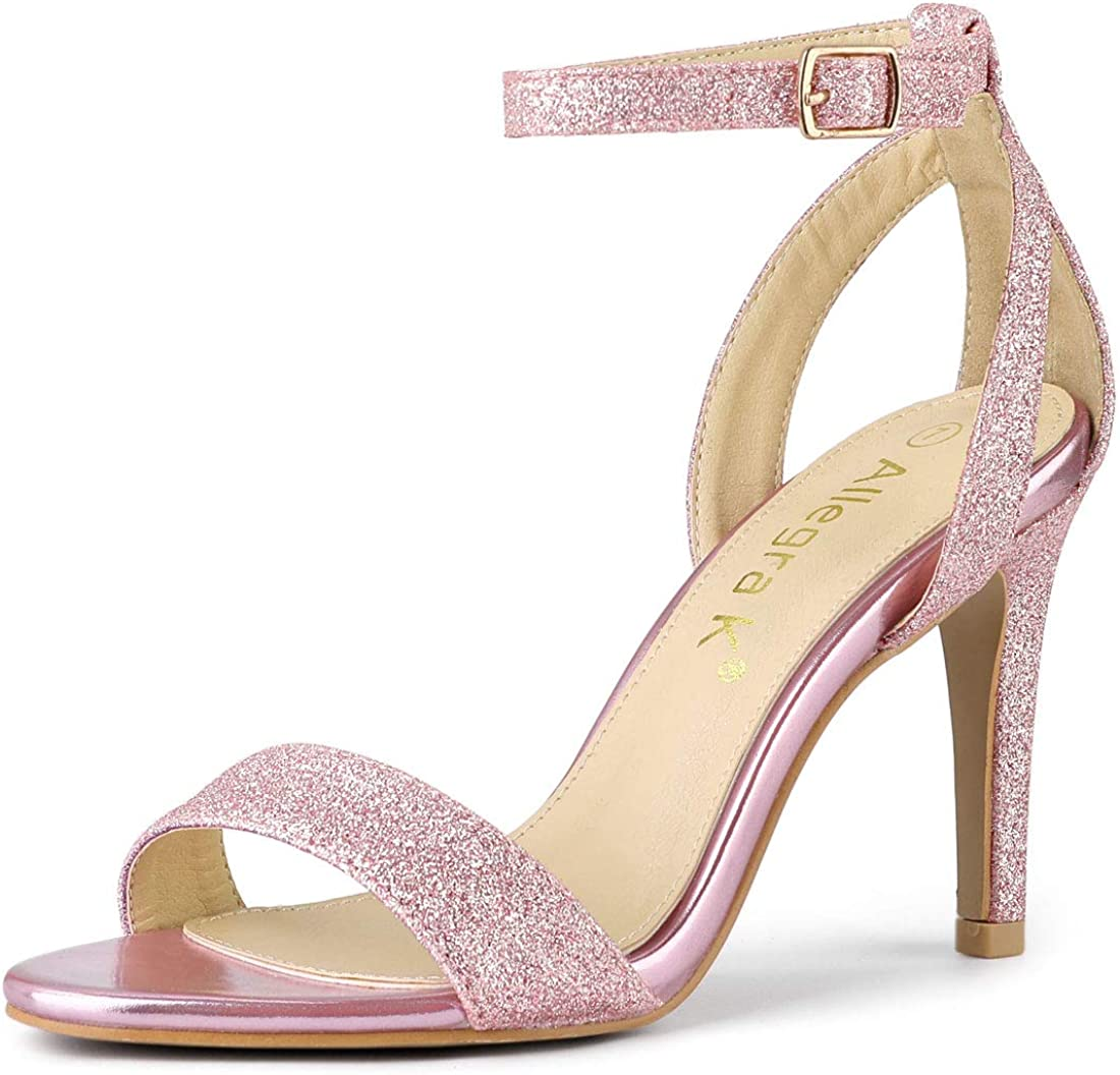 Allegra K Women's Glitter Ankle Special price Sandals Stiletto Heel Strap OFFicial High