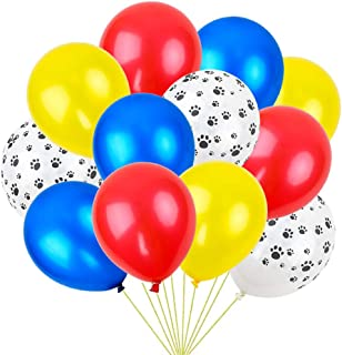 RUBFAC 36 Colorful Latex Dog Paw Print Balloons (Red, Yellow, Blue, Dog Paw), Paw Party Decorations, Activities, Birthday Parties, etc
