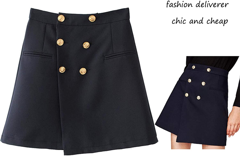 For What Reason Women Asymmetrical Skirt High Waist Europe Fashion A line Skirt Casual Streetwear Female Metal Button