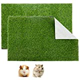 Aulock 2 Pcs Artificial Grass Guinea Pig Pee Pads- 15.7 × 23.6 Inch Fake Grass Rug Potty Training Replacement Artificial Turf for Puppy, Rabbits, Hamsters, Bunnies, Gerbils, Other Small Animals
