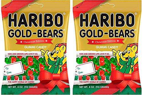 Haribo Gold Bears Christmas Edition Gummi Candy - 4 oz Bag (2 Bags)