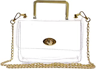 Fan Shop Women's Handbags & Purses Oweisong Women PU Classy Waterproof Clear Tote Top Ring Handle Handbag Transparent Beach Shoulder Crossbody Bag