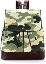TIZORAX Dschungel-Camouflage-Tarnmuster PU Leder Rucksack Mode Schultertasche Rucksack Reisetasche für Frauen Mädchen