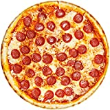 BROSHAN Funny Blanket for Kids Gift, Realistic Pizza Blankets 47inch , Soft Plush Food Round Throw Blanket for Beach Sofa Bed Travel