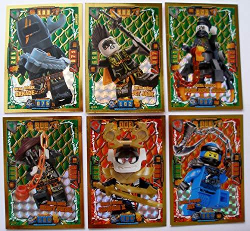 Ninjago Serie 4 - 6 Limitierte Gold Karten Trading Card LE 6 Mega Power Jay LE 7 LE 22 Mega Böse Heavy Metal Mega Power Samurai X LE 24 Mega Böser Jet Jack LE 23 Arkade LE 25 Beinloser Jäger