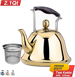 Gold Whistling Tea Kettle Stainless Steel Stovetop Teakettle Sturdy Teapot for Tea Coffee Fast Boiling with Infuser Color Gold Mirror Finish 2 Liter / 2.1 Quart (Gold)