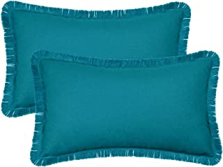 BRAWARM Pack of 2 Cotton Bolster Pillow Covers Cases for Couch Sofa Home Decoration Solid Dyed Soft Canvas with Raw Edge 12 X 20 Inches Teal