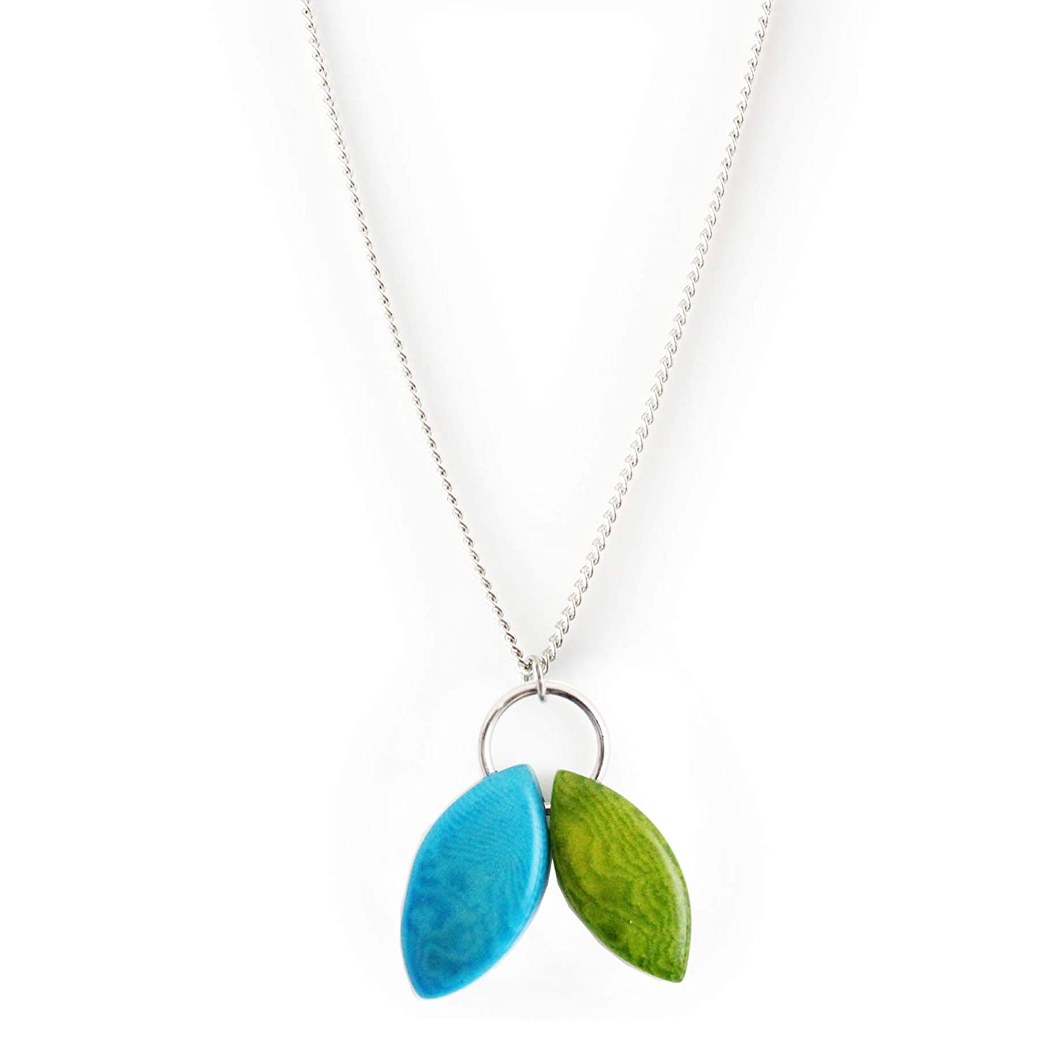 Leaves Tagua Nut Pendant Necklace and Blue in Handmade Green New product Be super welcome type