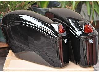 EGO BIKE Black Hard Saddle Bags Trunk Luggage w/Lights Mount Bracket Motorcycle for Yamaha Cruiser