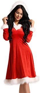 JEATHA Women's Velvet Long Sleeves Hoodie Dress Christmas Mrs. Claus Cosplay Carnival Costumes