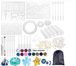 GOTONE Resin Jewelry Molds Crystal Glue Mold, 94 Pieces Silicone Epoxy Glue DIY Pendant Bangle Uv Resin Molds Mold for Jewelry Craft Clear Glue Curing Making Kit