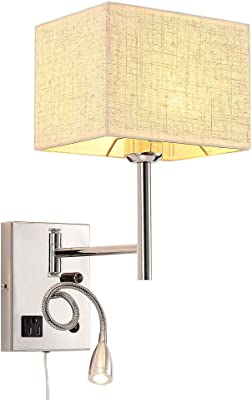 Bedside Wall Mount Light with Outlet and Dimmable Switch, LED Reading Swing Arm Fabric Shade Wall Sconce Light with Plug in Cord, Perfect for Bedroom, Living Room and Hotel