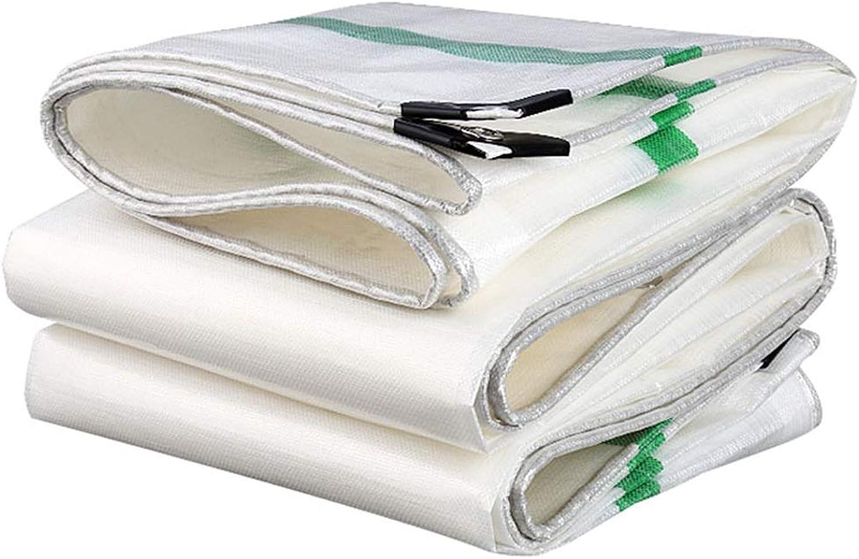 Tarpaulin Waterproof Tarps RipStop Poly Tarp Cover UV Resistant White Sunshades for Car Boat Camping Hay Bales