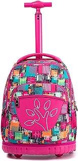 Boys Girls Rolling School Backpacks - Kids Print Pattern Trolley Schoolbag 2 Wheeled Waterproof Primary Child Bag Outdoor Travelling Nylon Adult Teenager Luggage