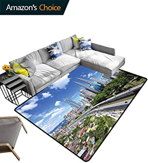 Bigdatastore City Sports Area Rug Pad, Kuala Lumpur Skyline in a Clear Day Financial District Highway Skyscrapers, Durable Carpet Area Rug - Living Dinning Room Bedroom Rugs and Carpets(5'x 8')