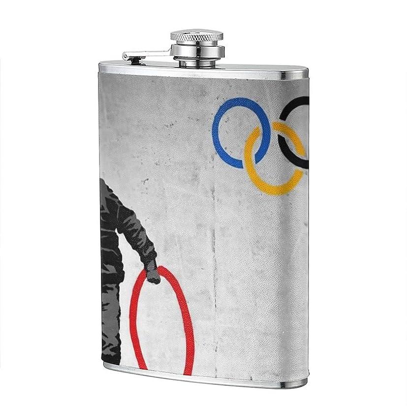 フィラデルフィア磁石アクセルバンクシー Banksy Olympic Rings スキットル ヒップフラスコ メンズ ステンレス製 錆びない Puレザー 滑り止め 焼酎 清酒 リキュール ウイスキー ワイン ボトル 超軽携帯 キャンプ用品 超軽便利 U型 メンズ レディース