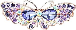 Anjetan Rhinestone Butterfly Hair Clip Decorative Fashion Butterfly Hair Barrette French Barrette