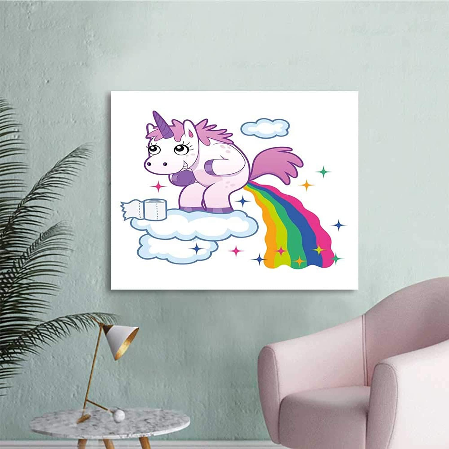 Funny, Girls Wall Art Canvas Prints Unicorn Pooping Rainbow Over Clouds Creative Kids Girls Fairy Tale Fantasy Cartoon W36 xL32 Wall Stickers for Kids