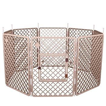 Iris Ohyama, Parc à chiot / enclos chien, 1,7 m², porte avec crochet de fermeture, tiges pour un assemblage & démontage facile, modulable, résistant aux intempéries, pour chien-Pet Circle H-908-Beige