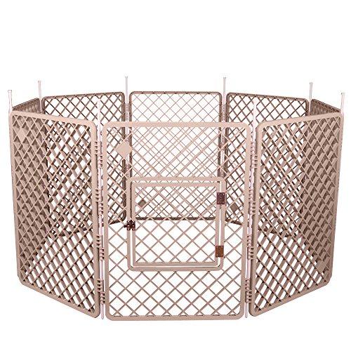 Iris Ohyama, Welpenauslauf / Hundelaufstall, 1,7 m², 8 Elemente, Tür mit Verschlussriegel, Stangen für einfache Montage und Demontage, wetterbeständig, für Hund - Pet Circle