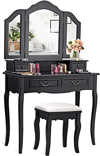 CHARMAID Vanity Set with Tri-Folding Mirror and 4 Drawers, Makeup Dressing Table with Cushioned Stool, Makeup Vanity Set for Women Girls Bedroom, Makeup Table and Stool Set (Black)