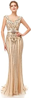 Women's Long Formal Dresses with Beads Luxury Prom Ball Gown Evening Dress