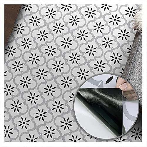 Geometry 2 Autoadhesivo Adhesivo para baldosas de suelo, resistente al aceite, a prueba de aceite, zócalo de fácil limpieza utilizado para el suelo de la sala de estar de 3 m de largo。