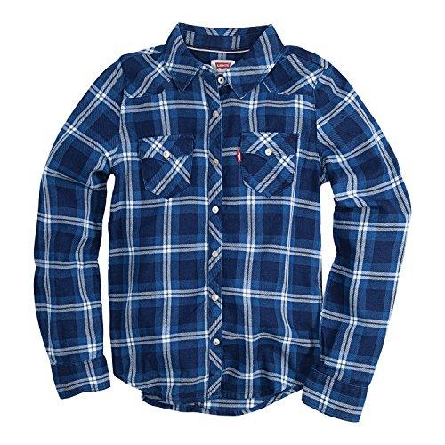 Levi's Girls' Toddler Long Sleeve Button Up Shirt, Dress Blues/Marshmallow, 2T