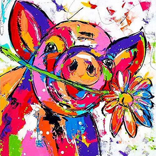 ZJELKY 5D Diamant Painting Set Full Farbe Schwein Diamond Painting Kinder DIY Stickerei Erwachsene Ölgemälde Leinwandbild Nummer Kit Zauberwürfel Runden Diamanten (Schwein A, 30 x 40 cm)