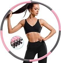 SAWAKE Hula Fitness Oefen Hoepel, Hula Gewichtsverlies Gewogen Hoepels 1,2 kg Voor Volwassenen, Zacht Gestreept Schuim 8 S...